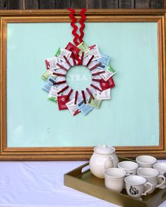 Before your next tea party, create a tea wreath for a fun, vibrant, and creative way to give your guests their favorite tea