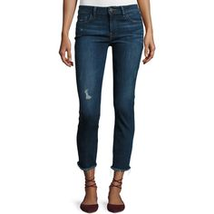 Dl1961 Premium Denim Mara Ankle Instasculpt Straight-Leg Jeans ($198) ❤ liked on Polyvore featuring jeans, navy, slim fit straight leg jeans, stretch jeans, ripped jeans, cropped jeans and navy blue jeans