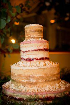 Naked three tiered wedding cake | Christopher Duggan Photography