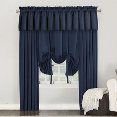 Seymour Energy Efficient Tie-Up Shade Navy (Blue) Sun Zero Boys Room Curtains, Valance Curtains, Tie Up Shades, Tied Up, Room Darkening, Energy Efficiency, Zero, Interior Decorating, Sun