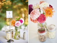 Love the idea of flowers in a mason jar as centerpieces...definitely doing this!