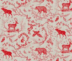 Woodland Winter Toile (in Cranberry) by nouveau_bohemian