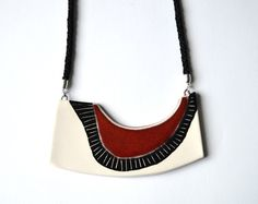 Black ceramic statement necklace handmade contemporary by islaclay