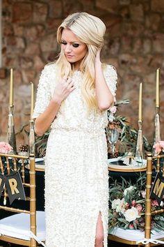 White sequins wedding dress  | Callie Hobbs Photography | see more on: http://burnettsboards.com/2015/01/glamorous-fun-wedding-inspiration/