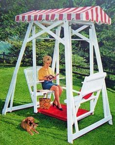 Build Wood Yard Swing 2 Bench Glider w Canopy DIY Plans