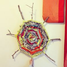 our kids made a stick weaving using ace & jig scraps