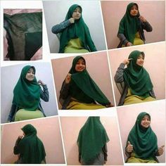 Bawal Hijau Simple Hijab Tutorial, Hijab Style Tutorial, Muslim Fashion, Hijab Fashion, Fashion Outfits, How To Wear Hijab, Hijab Style Dress, Scarf Styles, Hijab Styles