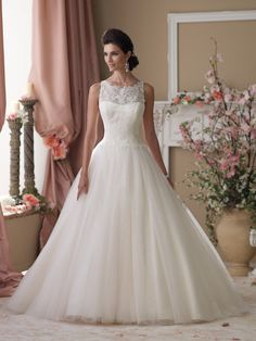 David Tutera for Mon Cheri - 114273 – Isobel - Wedding Dresses 2014 Collection – Sleeveless corded Chantilly lace, tulle and sequin over satin ball gown wedding dress, illusion and lace bateau neckline over a softly curved corded Chantilly lace bodice