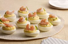 Great Recipes, Dinner Ideas and Quick & Easy Meals from Kraft Foods - Kraft Recipes Kraft Foods, Kraft Recipes, Egg Recipes, Shrimp Recipes, Appetizer Recipes, Appetizers, Cooking Recipes, What's Cooking, Shrimp Deviled Eggs