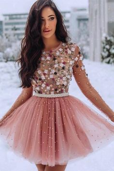 A Line Blush Pink Long Sleeve Homecoming Dresses Flowers Beaded Short Prom Dresses SSM, This dress could be custom made, there are no extra cost to do custom size and color. Long Sleeve Homecoming Dresses, Cheap Short Prom Dresses, Burgundy Homecoming Dresses, Lace Homecoming Dresses, Formal Dresses, Beaded Dresses, Quinceanera Dresses, Formal Wear, Bridesmaid Dress