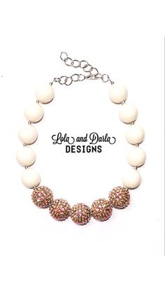 Darling Darla necklace ivory and gold chunky necklace bubblegum necklace gold flower necklace