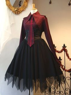 Draw your oc in something that they wouldn't normally wear Cosplay Outfits, Dress Outfits, Cool Outfits, Fashion Dresses, Dress Up, Punk Dress, Victorian Fashion, Gothic Fashion, Fantasy Dress
