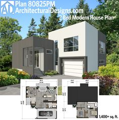 Architectural Designs 2 Bed Modern House Plan 80125PM gives you over 1,400 square feet of living on two floors. Ready when you are. Where do YOU want to build?