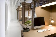 Nothing office by Joost van Bleiswijk Dutch designer Joost van Bleiswijk has designed a cardboard office interior for new Amsterdam advertising office Nothing. Using the same method of construction as. Minimalist Room, Minimalist Design, Office Interior Design, Office Interiors, Cardboard Design, Cardboard Display, Co Working, Home Design, Office Furniture