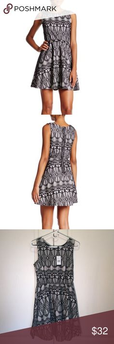 "Want & Need Sleeveless New Lace Fused Skater Dress Women's Want And Need Sleeveless New Lace Fused Skater Dress. Blk/White Size M.       - Boatneck - Sleeveless - Back zip closure - Allover lace - Approx. 33"" length - Armpit to Armpit 18"" Want And Need Dresses Mini"