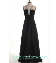Long Black Prom Dress Long Beaded Backless Bridesmaid Dress Mint Peach Red Grey Black Evening/Homecoming/Wedding Party/Cocktail/Formal Dress...