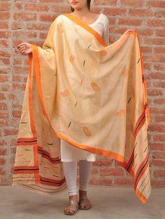 Beige-Orange Chikankari Silk Dupatta