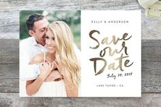 """Written"" - Modern, Simple Save The Date Cards in Gold Leaf by Robin Ott."