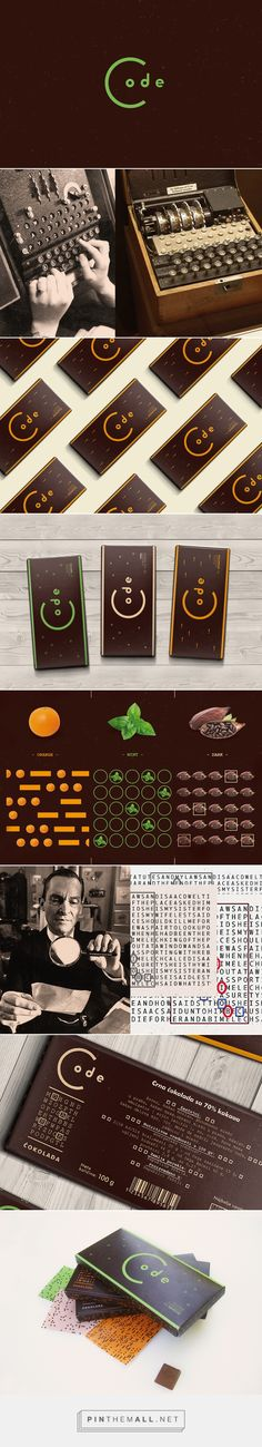 """Graphic design and packaging for """"Code"""" chocolate on Behance by Mina Bakliža Kragujevac, Serbia curated by Packaging Diva PD. Fictional brand of chocolate with inspiration from cryptography, secret language and puzzles, Morse code, Enigma machines that were used during WWII, to Sherlock Holmes."""