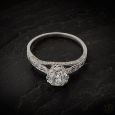 Vintage Engagement Ring. 1.37ct  Old Euro Diamond- Estate Diamond Jewelry Collection. GIA certification. Solitaire Vintage Engagement Ring. by EstateDiamondJewelry on Etsy https://www.etsy.com/listing/208248555/vintage-engagement-ring-137ct-old-euro