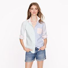 Super playful and matches khakis or any pastel skinny pant. Boy shirt in mixed oxford
