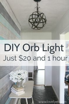and inexpensive DIY orb chandelier Make a DIY orb light fixture. This orb chandelier is easy and inexpensive to make and looks beautiful.Make a DIY orb light fixture. This orb chandelier is easy and inexpensive to make and looks beautiful. Orb Light Fixture, Diy Light Fixtures, Farmhouse Light Fixtures, Kitchen Lighting Fixtures, Farmhouse Lighting, Rustic Farmhouse, Painting Light Fixtures, Diy Pendant Light, Bedroom Light Fixtures
