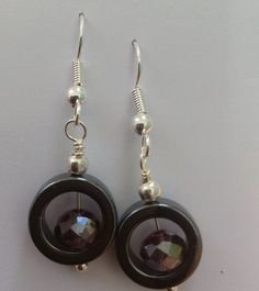 Facebook, Mums Jewellery Shed - hematite and crystal earrings