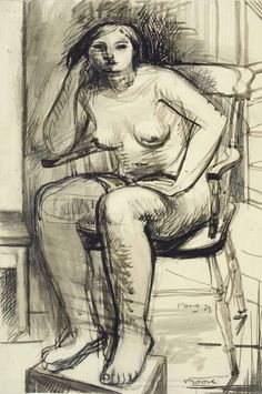 Henry Moore – Seated Woman, 1929; Chalk and ink, wash on paper