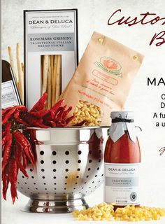 Italian fixings in a fancy metal colander. Excellent basket alternative, functional and related to the gift theme. Variation 2. Dean & Deluca