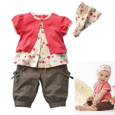 3 Pcs Baby Girls Fruits Pattern Top+Pants+Hat Set Outfits 0-3 Years Clothes XL045 Free shipping & Drop shipping $10.88
