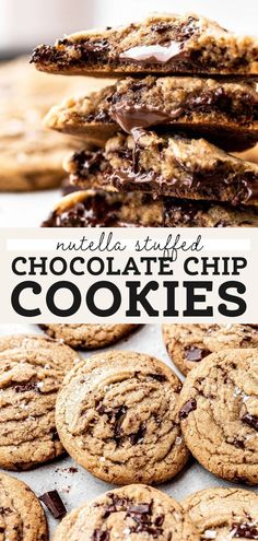 These nutella stuffed chocolate chip cookies are extra gooey and baked with brown butter for a rich flavor. They're easy nutella stuffed cookies that EVERYONE will love! #nutellastuffedcookies #nutella #chocolatechipcookies #butternutbakery | butternutbakeryblog.com Homemade Chocolate Pudding, Best Chocolate Chip Cookies Recipe, Decadent Chocolate Cake, Nutella Cookies, Chocolate Desserts, Fun Baking Recipes, Best Cookie Recipes, Best Dessert Recipes, Fun Desserts