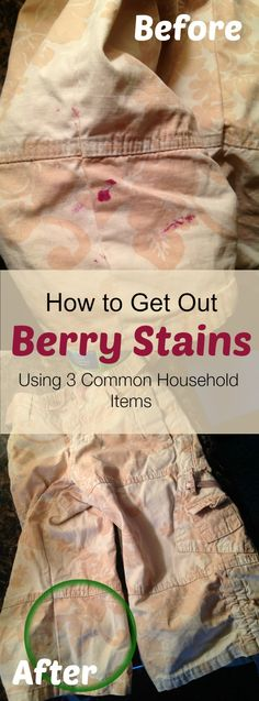 How to get out berry stains using 3 common household items. More effective than Oxi Clean, Tide, or Clorox!