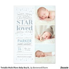 "Twinkle Multi Photo Baby Boy Birth Announcement This sweet multi photo birth announcement features the phrase ""Twinkle twinkle little star, do you know how loved you are"" and a sprinkling of stars around the details of your newborn's birth. Baby Boys, Pink Baby Boy, Baby Girl Birth Announcement, Birth Announcement Photos, Birth Announcements, Birth Photos, Foto Baby, Baby Boy Photos, Multi Photo"