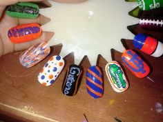 Florida gator nails (hand painted by me @Kayla Nelson)