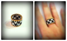 #delica #black #white #goldplated24k #anello #ring #peyotestitch #PiedDePoule