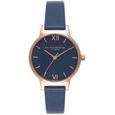 Olivia Burton Midi Navy Dial Watch - Navy & Rose Gold ($86) ❤ liked on Polyvore featuring jewelry, watches, logo watches, navy blue jewelry, rose jewelry, dial watches and pink gold jewelry