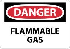 DANGER, FLAMMABLE GAS, 7X10, RIGID PLASTIC