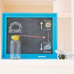 A homemade barometer lets kids play meteorologist in this fun at-home science activity, thanks to the folks at FamilyFun: http://www.parents.com/fun/games/educational/teach-about-weather-with-this-science-craft/?socsrc=pmmpin130627ffBarometer