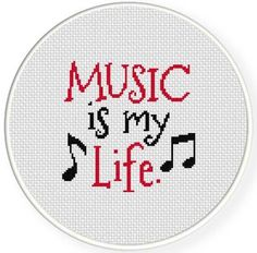 (10) Name: 'Embroidery : Music is my Life Cross Stitch Pattern