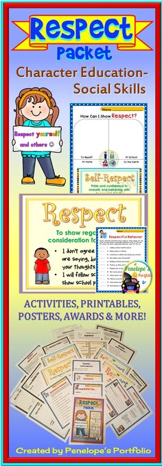 Respect is a very important life skill. This Character Education - Social Skills Packet is filled with lessons teaching children the value of respect, and is also great for classroom management. Resources may be used by teachers, school counselors, homeschooling parents, speech therapists, and other specialists.