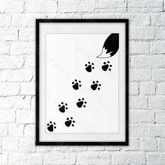 A personal favorite from my Etsy shop https://www.etsy.com/listing/466164800/nursery-fox-tracks-paw-wall-art-black