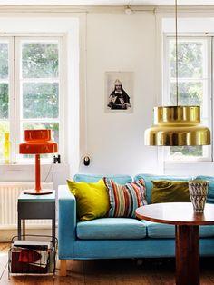 Swedish living room - I love the lamps!
