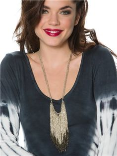 Long drop beaded fringe necklace.  http://www.swell.com/Womens-Boho-Gifts/CALIENTE-BEADED-FRINGE-NECKLACE?cs=SI
