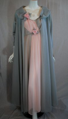 1950s 1960s Van Raalte Peignoir set, Nightgown & Robe in a lovely grey and pink colorway.  rose brooches!!