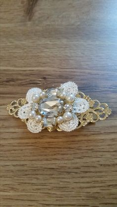 Hair clip barrette lace and clear rhinestone gold tone