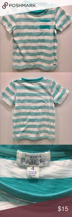 Boys Pumpkin Patch Tee Shirt Boys Size 4 Pumpkin Patch Teal & White Striped Tee Shirt - Like New Pumpkin Patch Shirts & Tops Tees - Short Sleeve