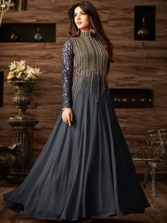 Sonal chauhan Dark Grey color net anarkali 4806