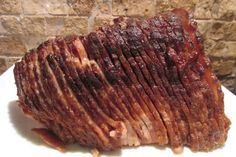 Brown Sugar & Maple Glazed Spiral Ham. Easy, inexpensive, and sweetly spicy. We chose this over Honey Baked Ham any day!