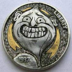 Onionhead by Doug Southerland Us Coins, Rare Coins, Skeleton Dance, Half Skull, Indian Skull, Buffalo Skull, Hobo Nickel, Coin Art, Art