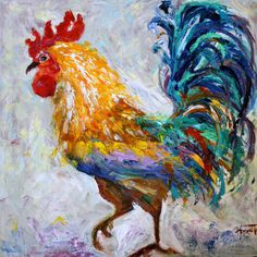 Original Rooster oil Painting PALETTE KNIFE impressionism on canvas fine art by Karen Tarlton